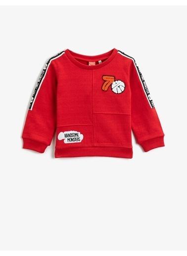 Koton Respect Life - Yasama Saygi - Yazili Baskili Bisiklet Yaka Uzun Kollu Islemeli Sweatshirt Kırmızı
